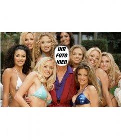 Fotomontage, dass Sie Hugh sein wird, von den Mädchen von Play Boy umgeben