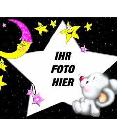 Kinder-Bilderrahmen, Bear Schlafen mit dem Mond und Sternen