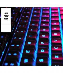 Gestalten Sie Ihre eigenen twitter Tapete mit Ihrem Bild auf der Seite. Hintergrund beleuchtete Tastatur.