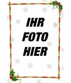Diskrete Rahmen für ein Foto, es besteht aus roten Streifen mit grünen Streifen, mit Weihnachtsmotiven dekoriert. Mit Dias von verschiedenen Konfigurationen von Eiskristallen