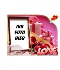 Valentinstag kastenförmigen Postkarte mit rosa Hintergrund mit dem Text LOVE