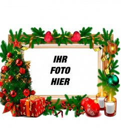 ein rahmen f r fotos mit weihnachtsschmuck photoeffekte. Black Bedroom Furniture Sets. Home Design Ideas