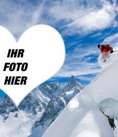 Fotorahmen eines Skifahrers, um das Foto in einem Herz gelegt