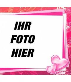 Rosa Rahmen mit Ihrem Foto eine Liebe Karte mit Herz zu bearbeiten