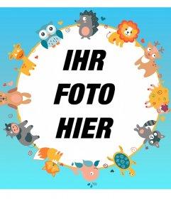 Netter Rahmen für Ihr Foto mit Tierzeichnungen.