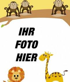 Kinder-Rahmen mit Tieren, mit Ihrem Foto zu personalisieren