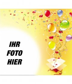 Bilderrahmen anlässlich der Geburtstagsfeier, gelber Hintergrund mit Luftschlangen, Luftballons und Sterne aus einer Geschenkbox.