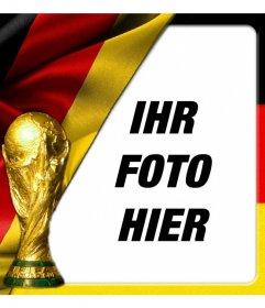 Montage, um Ihr Bild mit Deutschland-Flagge und Weltmeisterschaft gesetzt. Machen Sie eine Fotomontage