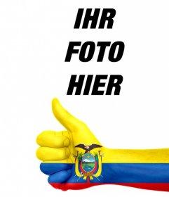 Fügen Sie eine Hand mit der Flagge Ecuador gemalt in Ihren Fotos