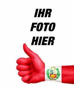 Ihr Foto mit einer Hand mit dem Daumen nach oben und der Flagge von Peru gemalt