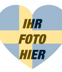 Schweden-Flagge Herz als Filter geformt, um Ihre Fotos zu