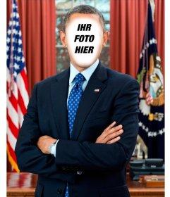Fotomontage, um das Foto in US-Präsident Barack Obama setzen