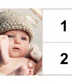 Rahmen für zwei Fotos mit einer schönen Baby, um eine Schwangerschaft zu verkünden