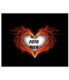 Bilderrahmen in Herzform brennenden wo Sie Ihren Hintergrund photo setzen können