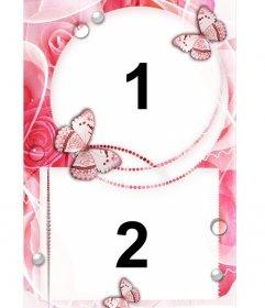 rahmen f r zwei fotos der liebe mit ornamenten von rosen und schmette photoeffekte. Black Bedroom Furniture Sets. Home Design Ideas
