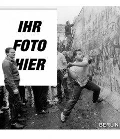 Fotomontage der Fall der Berliner Mauer im Jahr 1989 zu deinem Bild neben dem Bild zu setzen