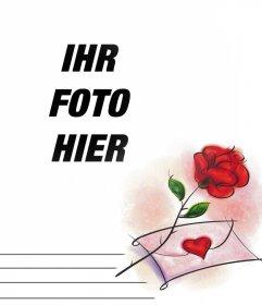 Foto-Effekt mit einer roten Rose und ein Liebesbrief Sie bearbeiten können,