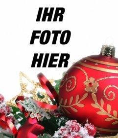 Dekorieren Sie Ihre Bilder online mit einem großen roten Ball von Weihnachten