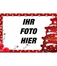 Fotorahmen mit Christbaumschmuck und rotem Rand