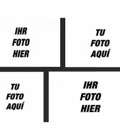 Collage mit 4 Bildern von einem schwarzen Rahmen, wo man verschiedene Bilder in verschiedenen Größen platzieren können und wenden Sie einen Foto-Filter und fügen Sie Text getrennt