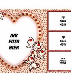 Liebe Collage mit 4 Bilder und ein Herz als Hauptbild