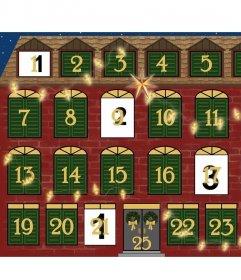 Original-Adventskalenders eines Hauses eingerichtet, um Ihren Fotos hinzuzufügen