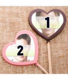Collage der Liebe zu zwei Fotos in Farbe Schokolade Lutscher zu platzieren