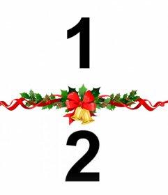 Legen Sie zwei Fotos zusammen mit einem dekorativen Weihnachtskranz mit diesem Effekt