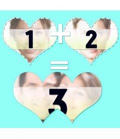 Collage für drei Schüsse mit zwei Herzen Verbindungs-und Zusammen Ergebnis