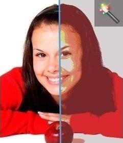 Bild bearbeiten mit diesem Filter für Farbbilder Schwelle. Dann können Sie mit anderen Effekten der Seite spielen, um eine raffinierte Aussehen bekommen