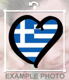 Griechenland Flag Herzform in Ihrem Profil Fotos als Aufkleber setzen