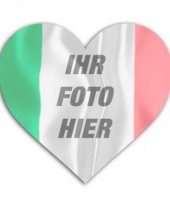 Foto Wirkung der italienischen Flagge herzförmige, um das Foto setzen