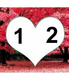 Rahmen für zwei Fotos in einem Herz auf Kirschblüten