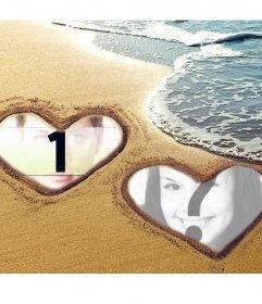 Collage der Liebe mit zwei Herzen auf dem Sand am Strand markiert
