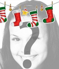 Bilderrahmen mit Weihnachten Herd Stil Dekoration mit Weihnachtssocken