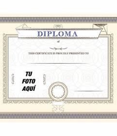 Anpassbare Diplom einer Leistung, stolz auf die Person, die Sie wollen, in dem Sie ein Foto und Text platzieren vorgestellt