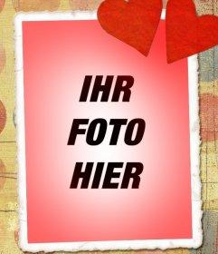 Liebeskarte mit Ihrem Foto, rotem Ton und zwei Herzen