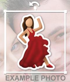 Emoticon eines Flamenco, der aus WhatsApp tanzt