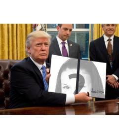 Donald Trump Fotomontage Ihre Fotos in einer Executive Order zu setzen gerade unterzeichnet