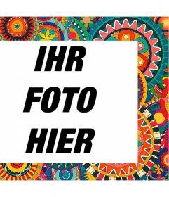 Rahmen mit bunten und ethnischen Details Ihre Fotos kostenlos