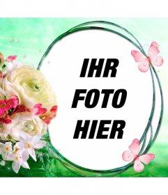 Komposition mit Blumen und Schmetterlinge auf dem Hintergrund der Frühlingswind, um das Foto in einem kreisförmigen Rahmen setzen