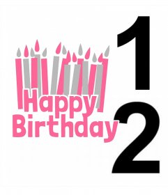 Postkarte mit zwei Fotos zu bearbeiten und die Phrase Alles Gute zum Geburtstag mit vielen Kerzen