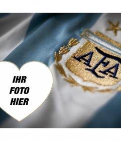 Foto-Effekt mit Argentinien Fußball-T-Shirt und fügen Sie Ihr Foto innerhalb eines Herzens