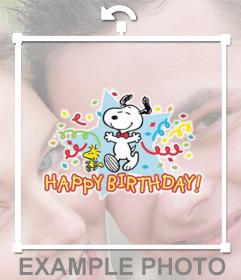 Aufkleber mit Snoopy und dem Text alles Gute zum Geburtstag mit Ihren Fotos zu feiern
