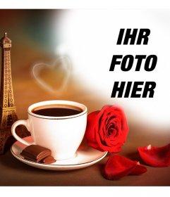 Fotoeffekt der Liebe mit dem Eiffelturm in Paris und einem Kaffee