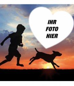 Schöne Fotoeffekt mit einem Kind und einem Hund für Ihr Foto