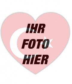 Fotoeffekt eines Herzens mit der Flagge der Türkei