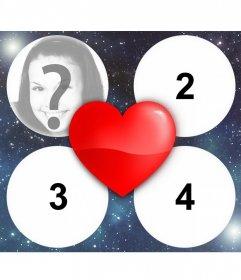 Fotoeffekt der Liebe mit einem Herzen für 4 Bilder