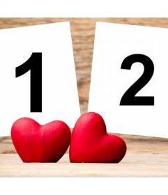 Fotoeffekt der Liebe zu zwei Bilder hochladen