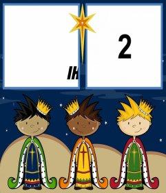 Weihnachtskarte den Tag der Heiligen Drei Könige mit zwei Fotos zu feiern